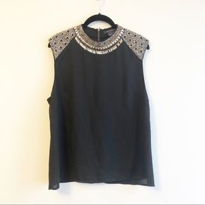 French Connection Black Beaded and Studded Blouse